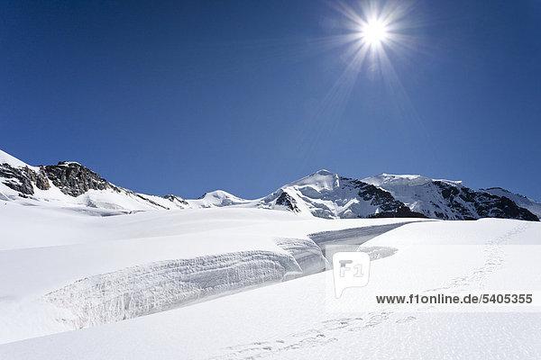 Gipfel des Piz Palü in der Gletscherlandschaft  Graubünden  Schweiz  Europa