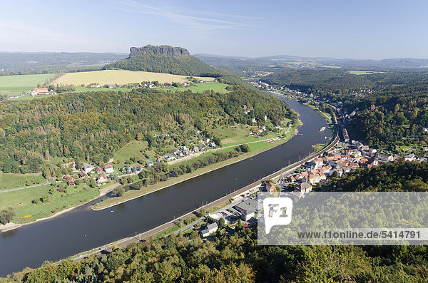 View of Lilienstein mountain  the city of Koenigstein and the Elbe River  Elbe Sandstone Mountains  Saxon Switzerland district  Saxony  Germany  Europe