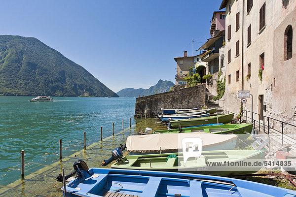 Fishing boats in Gandria on Lake Lugano  Lago di Lugano  Ticino  Switzerland  Europe