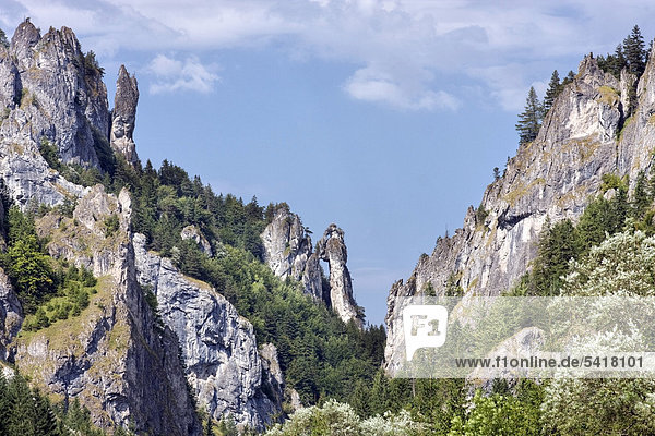 Felsformation Betender Mönch bei Tiesnavy  Naturschutzgebiet  Nationalpark Kleine Fatra  Slowakei  Europa