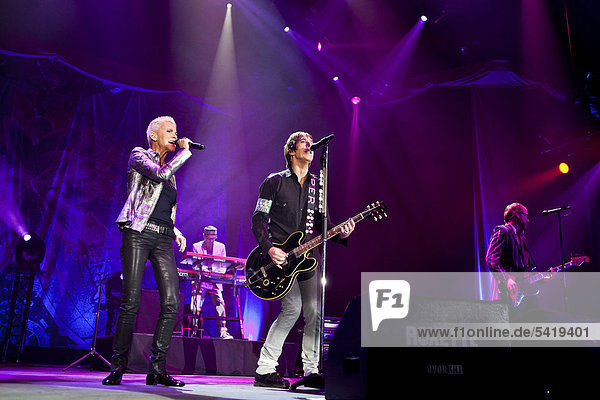 'Swedish pop duo ''Roxette'' with Marie Fredriksson and Per Gessle playing live at Hallenstadion in Zurich  Switzerland  Europe'