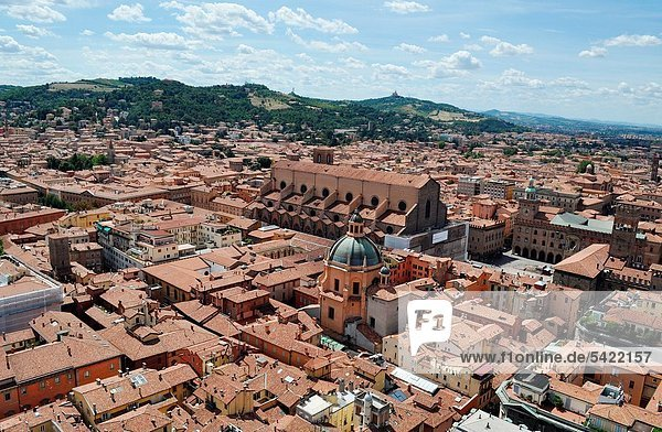 Bologna (Italy): view of the historical center  from the top of the Torre Asinelli