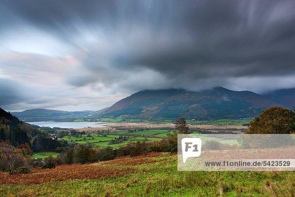 View towards Bassenthwaite Lake and Skiddaw  Lake District National Park  Cumbria  England  United Kingdom  Europe