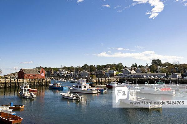 Fischereihafen Fischerhafen Vereinigte Staaten von Amerika USA klein Dorf angeln Neuengland Ansicht Massachusetts Rockport