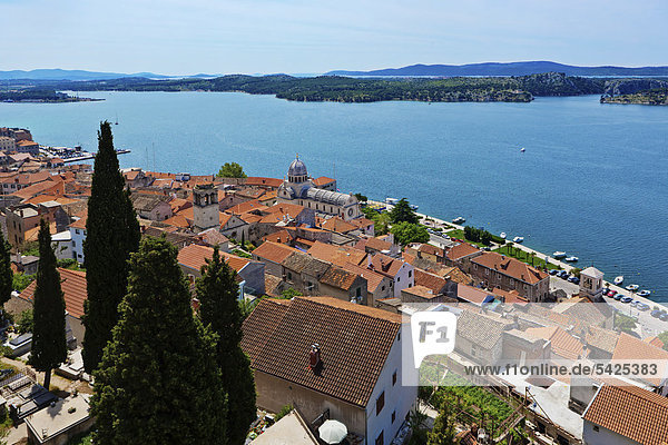 View of Sibenik  central Dalmatia  Dalmatia  Adriatic coast  Croatia  Europe  PublicGround