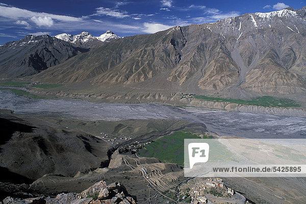 Spiti-Tal bei Ki  Lahoul und Spiti  indischer Himalaya  Himachal Pradesh  Nordindien  Indien  Asien