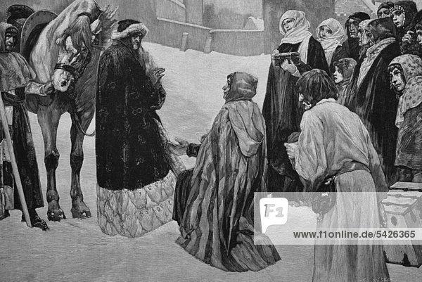 Weihnachten in Wien  Österreich  im Jahre 1227  Holzschnitt  1882