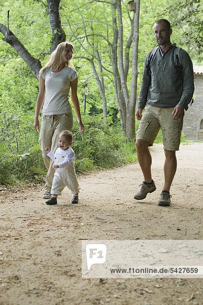 Eltern wandern im Wald mit Kleinkind