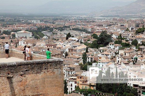 Panorama  Ansicht  Alhambra  Andalusien  Granada  Viertel Menge  Spanien