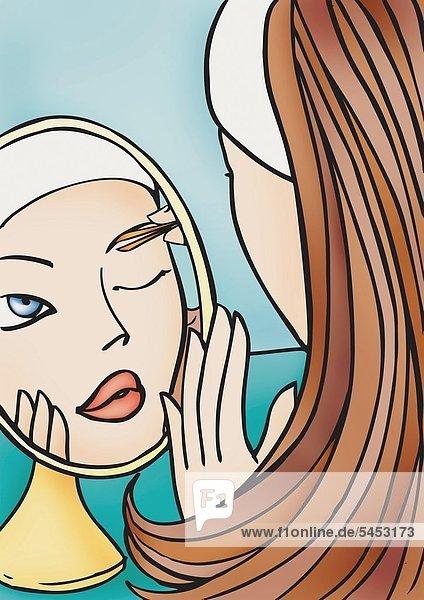 Gesicht einer jungen Frau im Spiegel beim Zupfen der Augenbrauen -