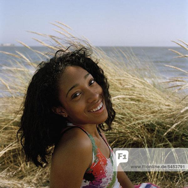 A teenage girl enjoying a day at the beach