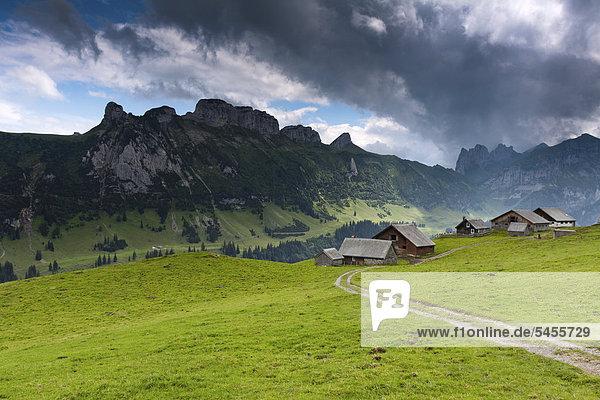 Europa Berg Bauernhof Hof Höfe Ansicht Schweiz