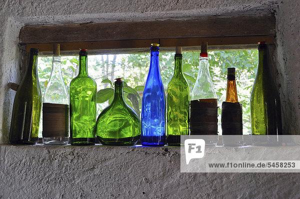 Bottles in a distillery  Brazil  South America