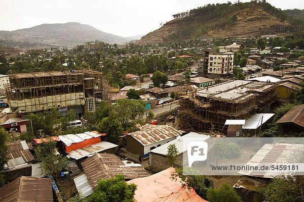 Blick über die Dächer von Gonder  Äthiopien  Afrika