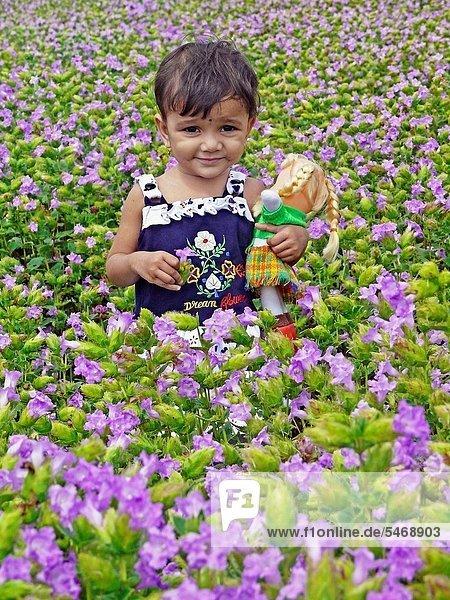 klein  grün  Mädchen  Puppe  Indien  Maharashtra