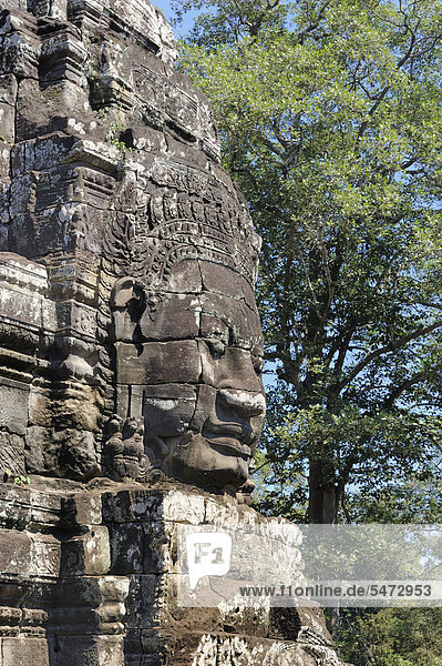 Avalokiteshvara Statue  Bayon Tempel innerhalb der Angkor Tempelanlage in der Provinz Siem Reap  Kambodscha  Südostasien  Asien