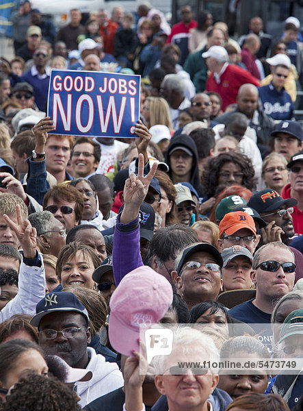 The crowd at President Barack Obama's Labor Day rally in Detroit  Michigan  USA