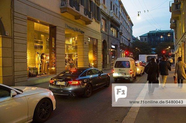 Via Monte Napoleone Straße Quadrilatero d'Oro Bezirk Zentrum Mailand Lombardei Region Italien Europa