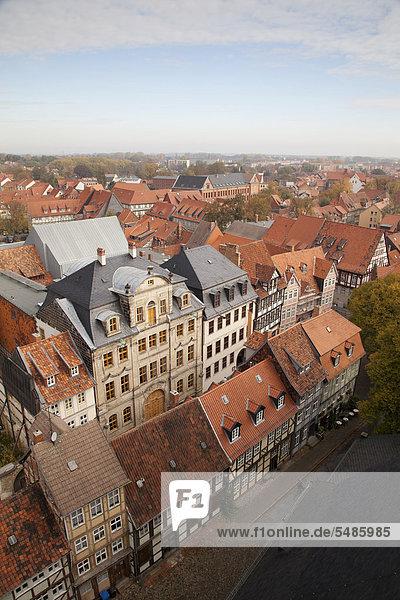 Europa Kirche Ansicht UNESCO-Welterbe Deutschland Markt Quedlinburg Sachsen-Anhalt
