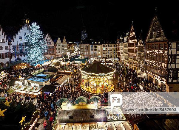 Weihnachtsmarkt auf dem Frankfurter Römer  Frankfurt am Main  Hessen  Deutschland  Europa Weihnachtsmarkt auf dem Frankfurter Römer, Frankfurt am Main, Hessen, Deutschland, Europa