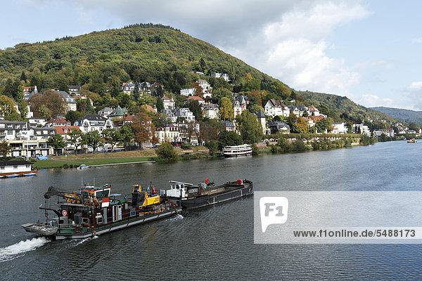 passen Europa Fluss Villa Containerschiff Baden-Württemberg Deutschland Heidelberg