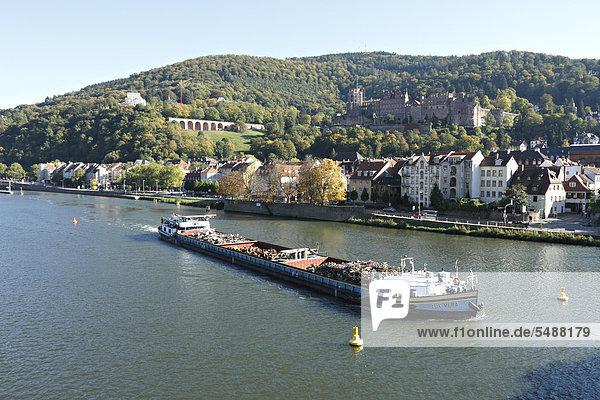 Europa Transport Boot Fluss Verschwendung Baden-Württemberg Deutschland Heidelberg