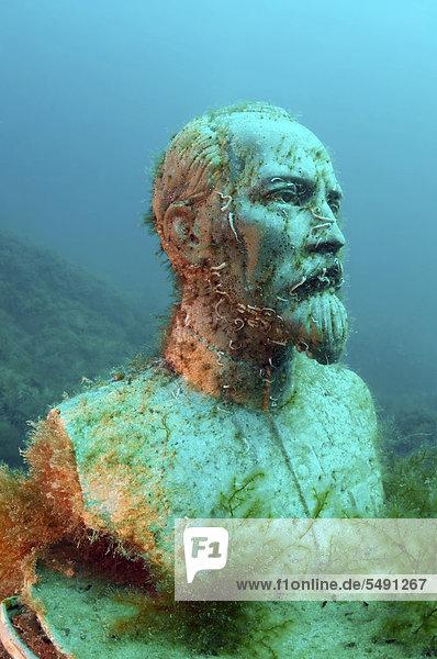 Unterwasser-Museum  Rote Führer  Skulptur von Felix Edmundovich Dzerzhinsky  Kap Tarhankut  Tarhan Qut  Schwarzes Meer  Krim  Ukraine  Osteuropa  Europa