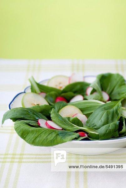 Fresh summer salad with basil  pears and radish