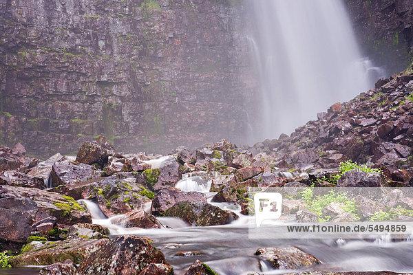 Njupeskär Wasserfall  Nationalpark Fulufjället  Dalarna  Schweden  Skandinavien  Europa