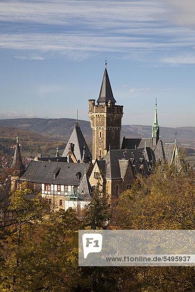 Ausblick vom Agnesberg auf das Schloss  Wernigerode  Harz  Sachsen-Anhalt  Deutschland  Europa  ÖffentlicherGrund