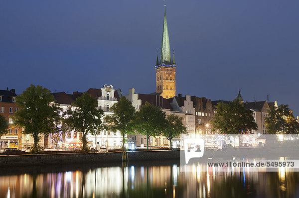 Stadtansicht Stadtansichten Europa Nacht Fluss UNESCO-Welterbe Ostsee Baltisches Meer Deutschland Schleswig-Holstein