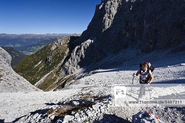 hoch  oben  Europa  Tal  Dolomiten  klettern  Italien