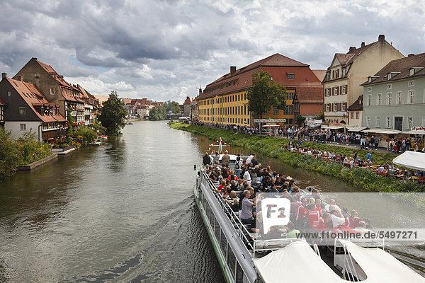 'Excursion boat ''Christl'' on the Regnitz river during Sandkerwa  folk festival  Bamberg  Upper Franconia  Franconia  Bavaria  Germany  Europe  PublicGround'