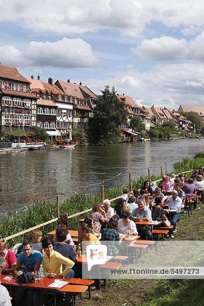 Klein-Venedig  little Venice  Regnitz river during Sandkerwa  folk festival  Bamberg  Upper Franconia  Franconia  Bavaria  Germany  Europe  PublicGround