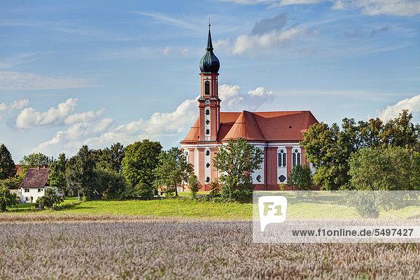 Wallfahrtskirche von Vilgertshofen  Bayern  Deutschland  Europa  ÖffentlicherGrund