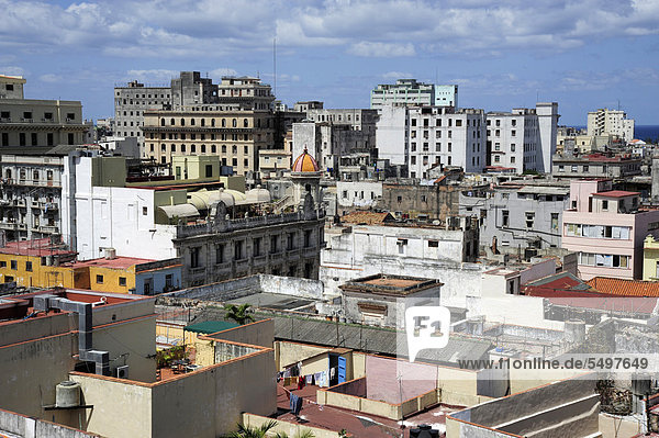 View over the rooftops  historic district of Havana  Habana Vieja  Cuba  Greater Antilles  Caribbean  Central America  America
