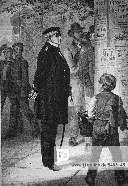 Prinz Adalbert  Prinz Heinrich Wilhelm Adalbert von Preußen  1811 - 1873  vor einer Litfasssäule  Holzstich  ca. 1880