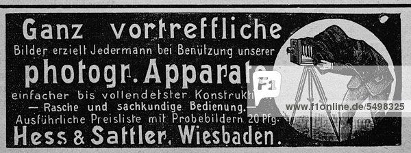 Werbeanzeige für Fotoapparate  veröffentlicht in der Gartenlaube im Jahr 1890 Werbeanzeige für Fotoapparate, veröffentlicht in der Gartenlaube im Jahr 1890