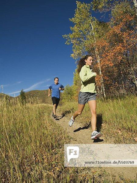 Paar jogging Pfad  Utah  USA