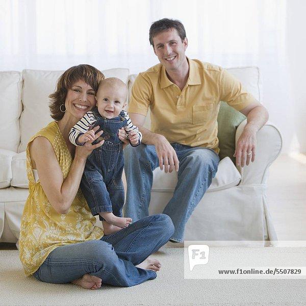 Porträt der Familie mit baby