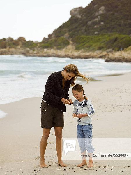 Muschel Strand sammeln Tochter Mutter - Mensch