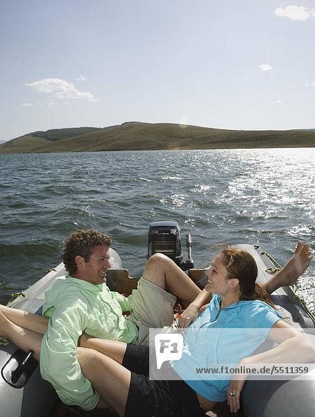 Couple on Motorboot  Utah  USA