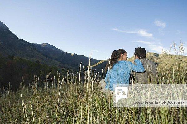 Couple sitting on Hang  Utah  USA