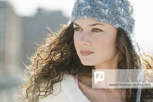 Close up of woman in stocking cap
