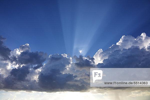 Dramatische Wolken und Sonnenstrahlen an einem blauen Himmel  New Orleans  Louisiana  USA