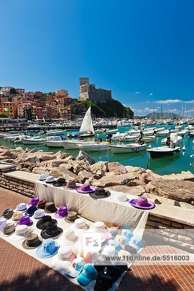 Harbour in Lerici and Castle controlling the entrance of the Gulf of La Spezia  Province of La Spezia  Liguria  Italy  Europe