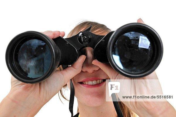 Frau  sehen  Zukunft  weiß  Hintergrund  Fernglas  jung  Business