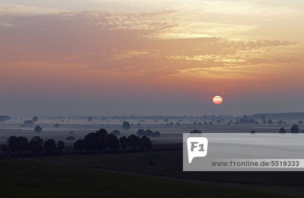 Sonnenaufgang bei Ehekirchen  Bayern  Deutschland  Europa