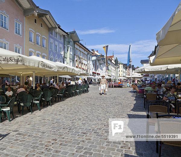 Historic district  Marktstrasse street  Bad Toelz  Upper Bavaria  Bavaria  Germany  Europe  PublicGround