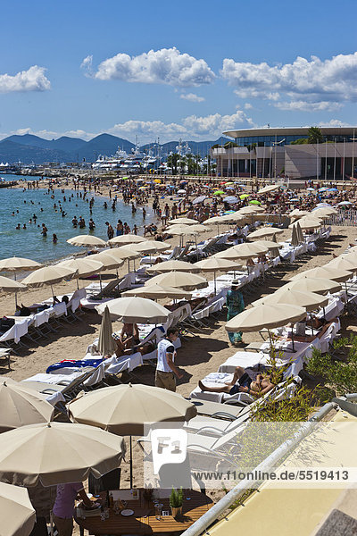 Beach of Cannes on the Croisette promonade  Cote d'Azur  Southern France  France  Europe  PublicGround
